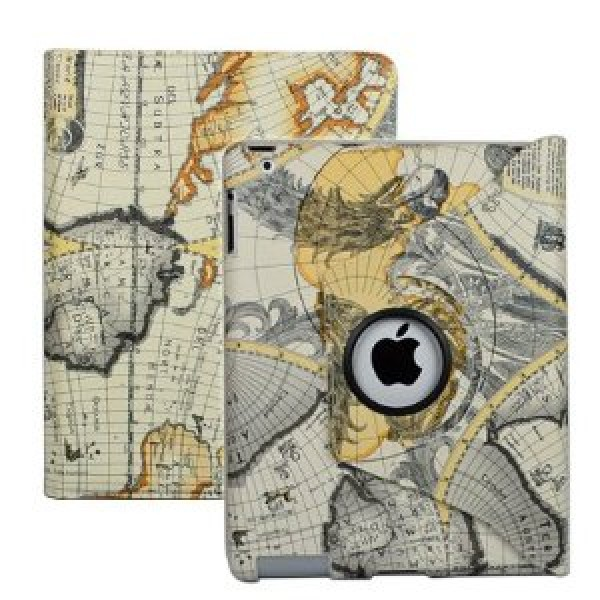 iPad 2 Stylish Map Pattern 360° Rotating Smart Cover