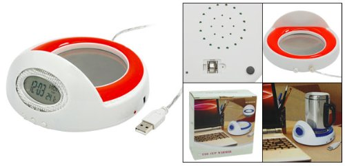 USB Mug Cup Coffee Warmer Heater with Clock