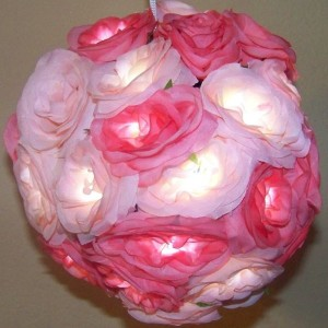 Pink White Silk Rose Ball Chandelier Lamp Light