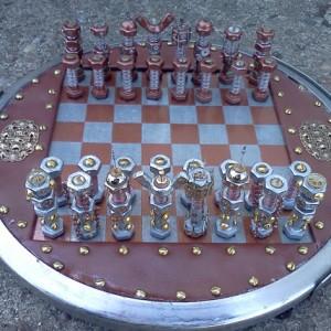 steampunk bolt and gear chess set