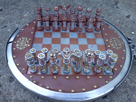 Steampunk bolt and gear chess set