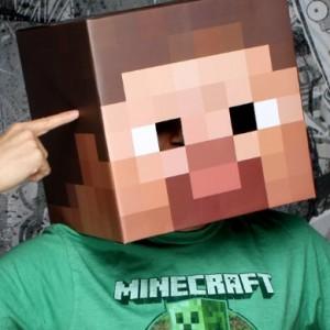"""Minecraft 12"""" Steve Head Costume Mask"""