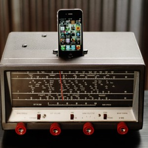 ipod iphone charging station with speakers from vintage tube shortwave radio