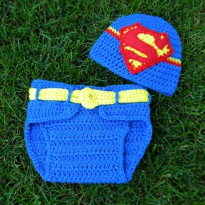 Superman Beanie and Diaper Cover Set