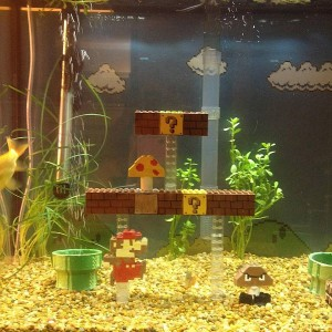 Creates Super Mario Bros Scene Inside Fish Tank, Not the Underwater Level
