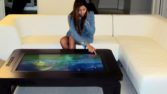 Multi touch hardwood table
