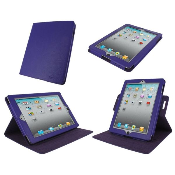 Dual-View Multi Angle (Purple) Genuine Leather Folio Case Cover for Apple iPad 3 / The new iPad / iPad 2
