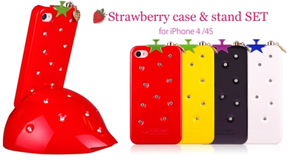 Strawberry Case and Stand Set for iPhone 4S/4