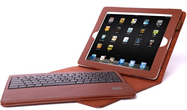 Bluetooth Keyboard and Leather Book Style Case for iPad 3