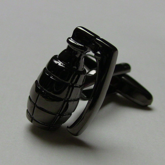 Grenade Design In Black color Men Cufflinks