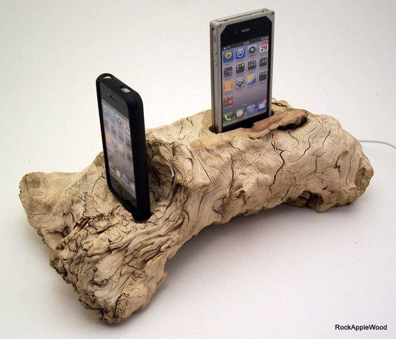 Beach Driftwood His n Hers Dual iPhone Dock