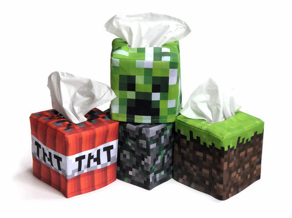 Minecraft inspired TNT Cube Tissue Box Cover