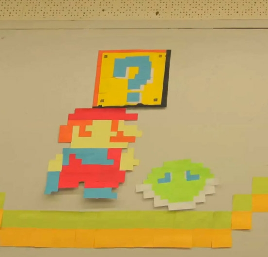 Super mario stop-motion made from 7000 sticky notes