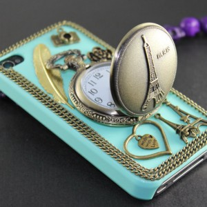 Eiffel Tower Pocket Watch ,love heart ,golden feather, flower,light green hard case --for iPhone 4 Case, iPhone 4s Case,