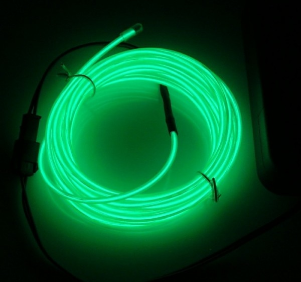 9ft Green Neon Glow Electroluminescent Wire