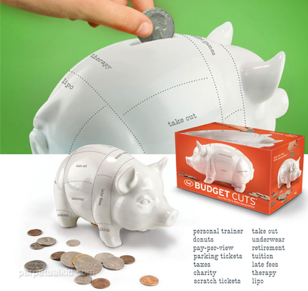 BUDGET CUTS COIN BANK