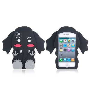 3D Elephant Shape Silicone Protective Case for iPhone 4/4S (Black)