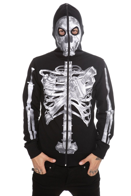 Skeleton Weapon Full Zip Hoodie