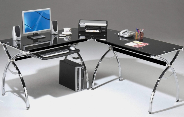 L-Shaped Glass Desk with Chrome Frame in Black