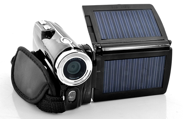 HD Digital Video Camera with Dual Solar Charging Panels