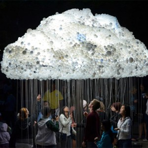 interactive cloud is made with over 6,000 bulbs