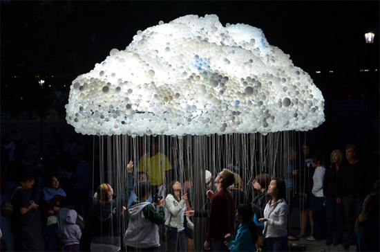 Interactive cloud with over 6,000 bulbs