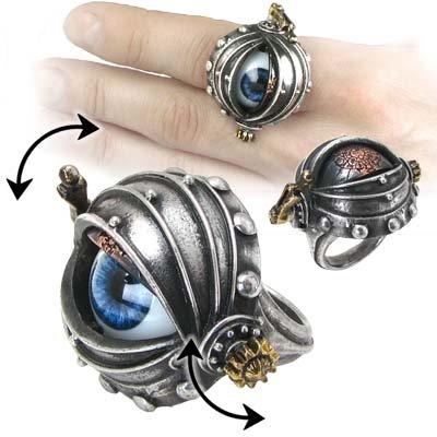 Steampunk Automaton's Eye of Ezekiel Rosenstein Gothic Ring