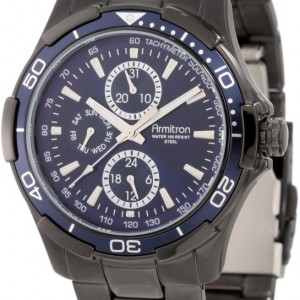 Armitron Men's 20/4677BLTI Black Ion-Plated Stainless Steel Blue Dial Bracelet Watch