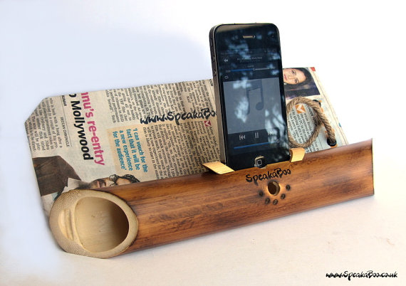 Hand crafted acoustic bamboo speaker