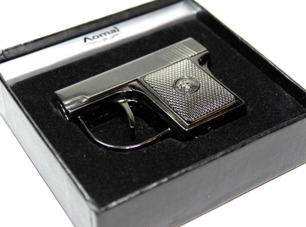 Gun Metal Color 45 Caliber Pistol Refillable Butane Torch Ligher