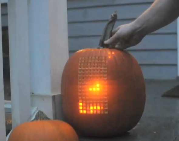 tetris on a pumpkin