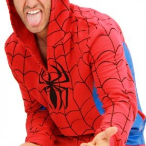 Spider-Man Red & Blue WEBBED Adult Hooded Sweatshirt Hoodie