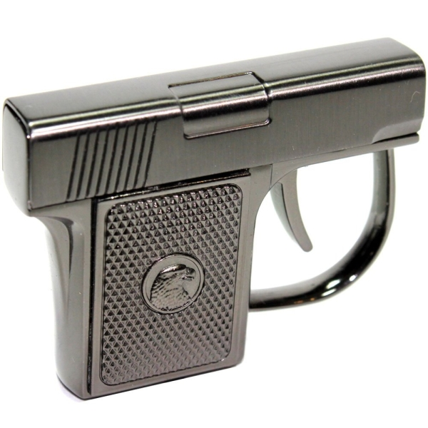 Gun Metal Color 45 Caliber Pistol Refillable Butane Torch Ligher