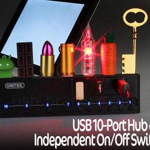 USB 10-Port Hub with Independent On/Off Switch