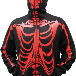 Skeleton Print Adult Black Hooded Sweatshirt Hoodie