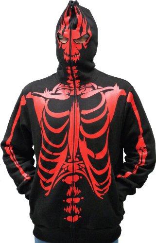 Skeleton Print Adult Black Hooded Sweatshirt Hoodie