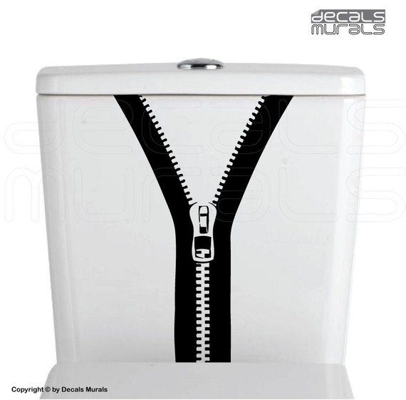 ZIPPER Bathroom vinyl decor stickersToilet