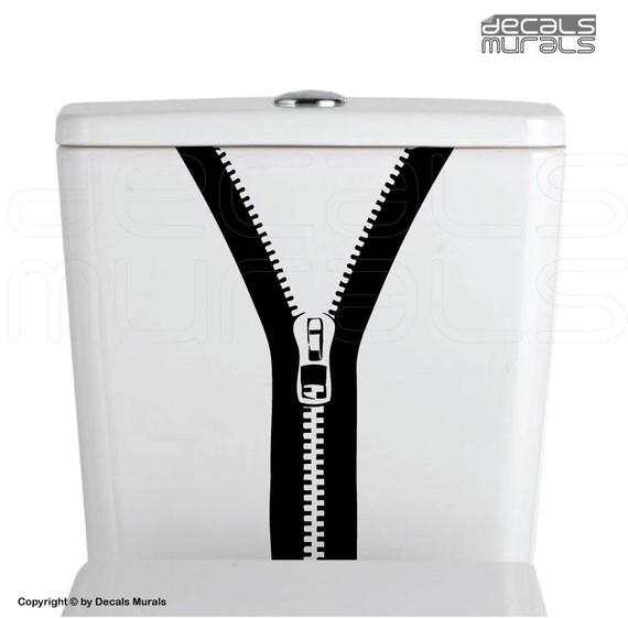 ZIPPER Bathroom vinyl decor stickersToilet