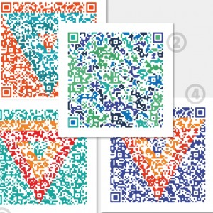 CYAN created QR-SCARVES with original QR code in different color variants.