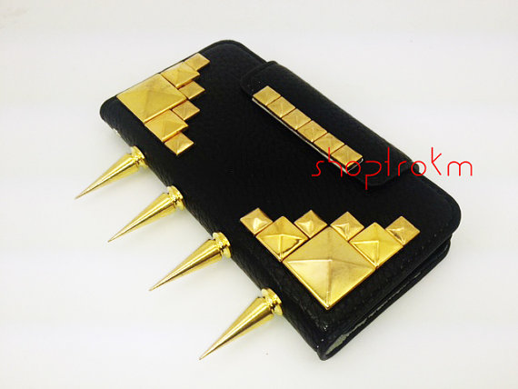 Black leatherette wallet clutch case for Apple iPhone 5 gold colored studs & murder spikes
