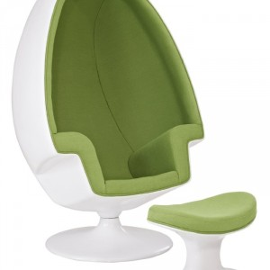 Alpha Shell Egg Chair And Ottoman in Green