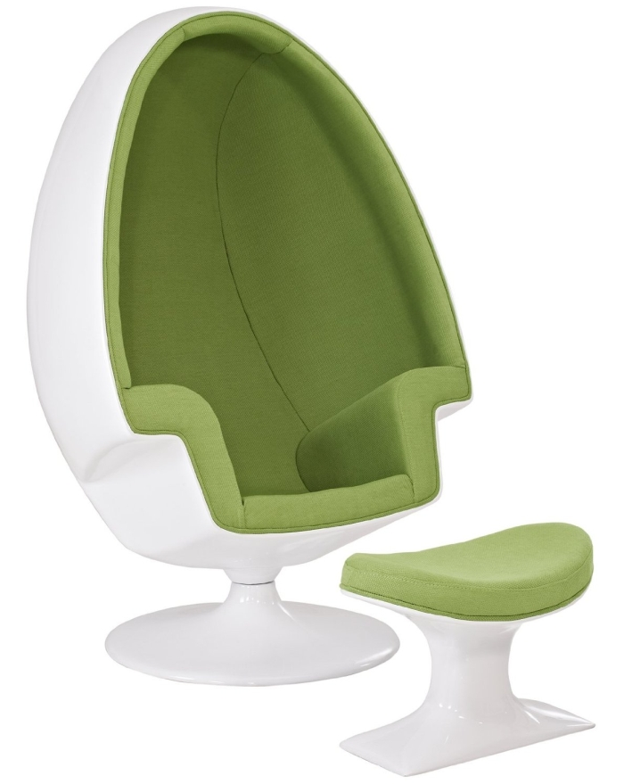 Cyber Monday:Alpha Shell Egg Chair And Ottoman in Green