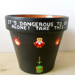 Legend of Zelda Nintendo NES Painted Flower Pot