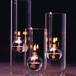 Handblown Glass Oil Lamp Set of Three