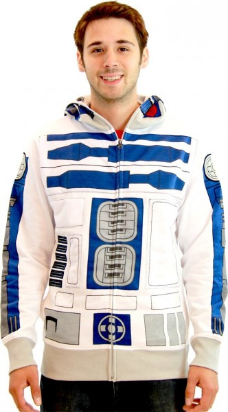 Star Wars R2-D2 Adult White Costume Zip Up Sweatshirt