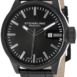 Stuhrling Original Men`s 468.33551 Octane Concorso Classic Swiss Quartz Date Black Leather Strap Watch