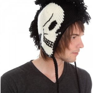 Gothic Punk White Skull Black Fringe Mohawk Beanie Hat