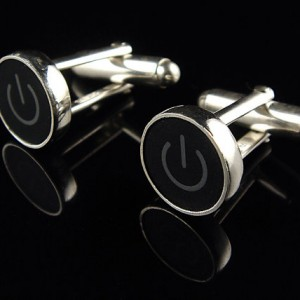 Power Standby Symbol Black & Grey Key - Cufflinks