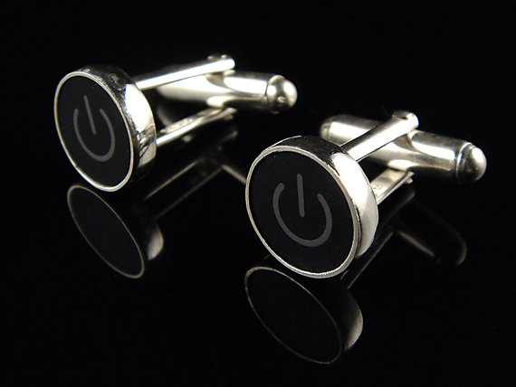 Power Standby Symbol Black & Grey Key – Cufflinks