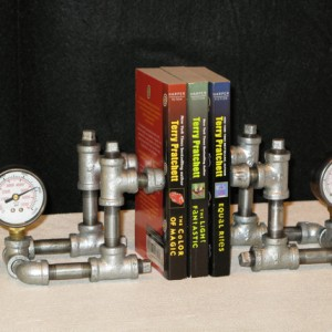 Steampunk bookends